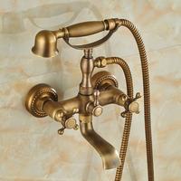 Modern Antique Brass Cloowfoot Wall Mounted Bathroom Tub Faucet W/ Hand Shower Sprayer Mixer