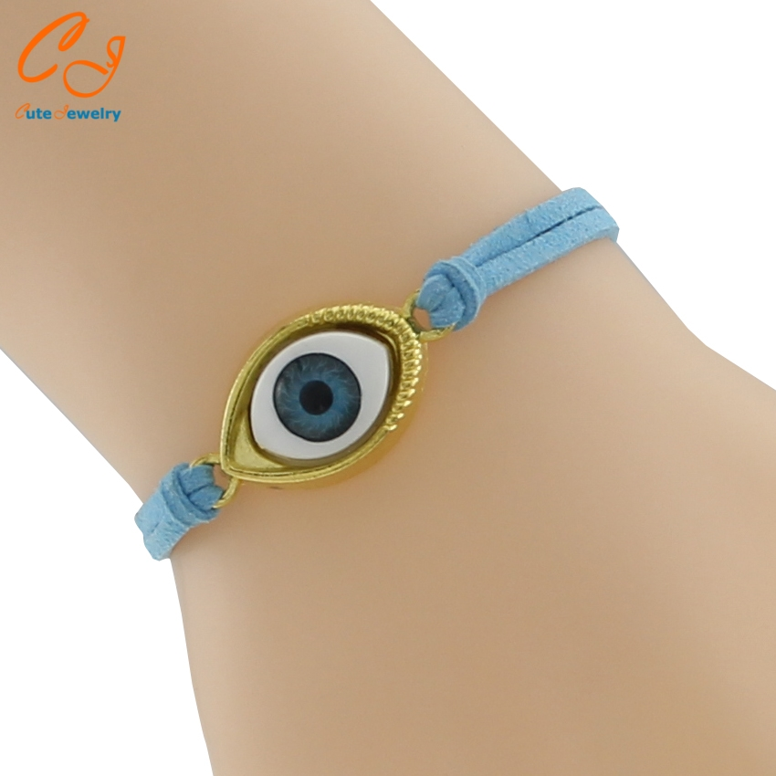 New Fashion Unisex Blue Eye Evil Braided Leather Bracelet Bangles Jewelry Turkey for Women Lady Girl Men