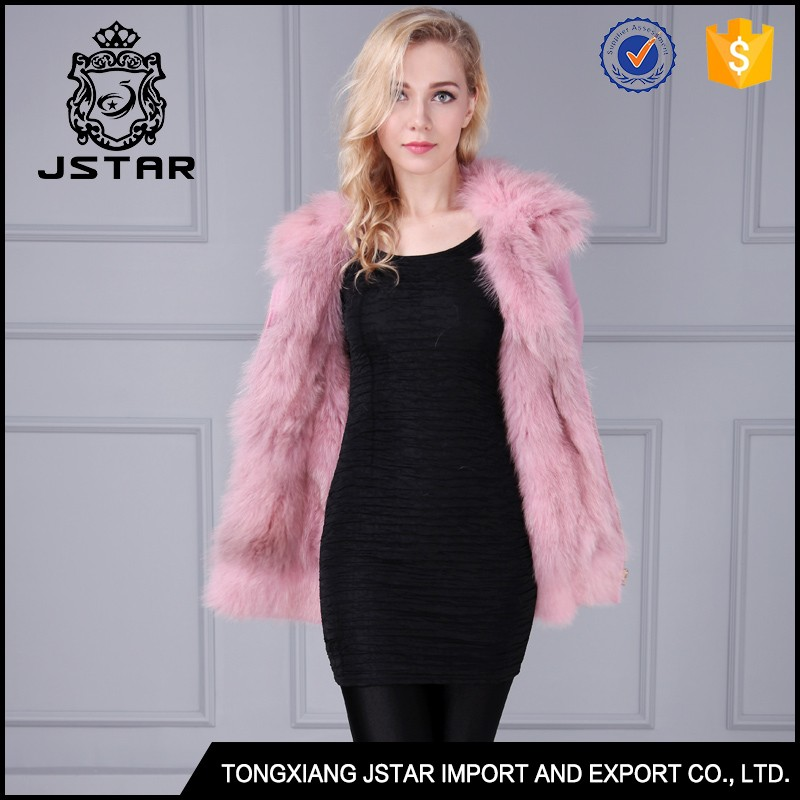 Cheap girls designer winter pink wool coat with fox fur removable lining