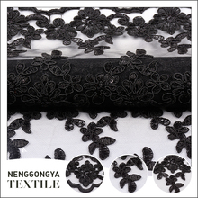 Wholesale new arrived embroidered tulle lace fabric in rolls for party dress