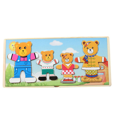 Wholesale Wooden Bear Pattern Children's Educational Early Childhood Toys Magnetic Puzzle