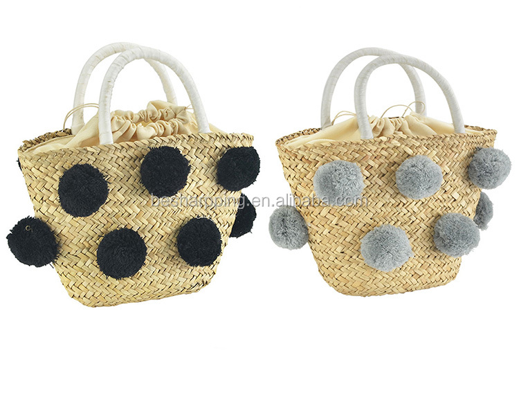 String Closure Pom Pom Straw Beach Bag Fashion Summer Tote Handbag