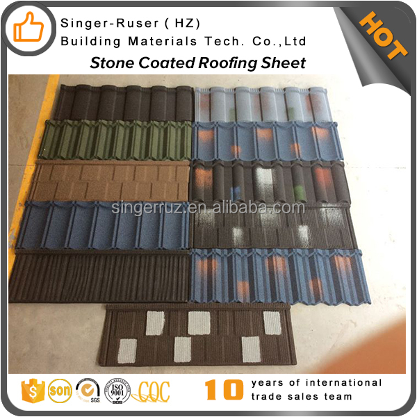 Hot Africa color granules covered panel stone coated steel roofing sheet terracotta color stone coated steel roof tile