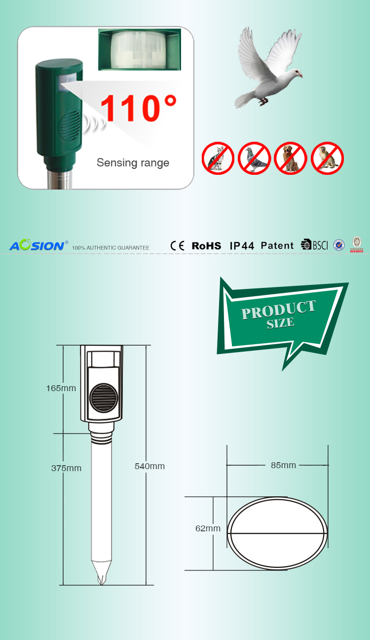 Aosion Patent Designed ecxellent ultrasonic bird repeller