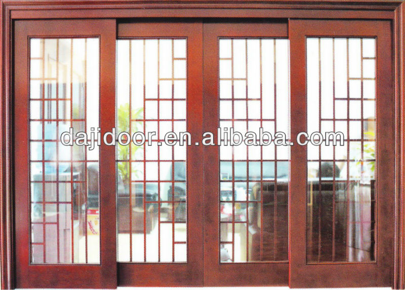 Wooden Frame Glass Retractable Interior Doors Sliding DJ-S432