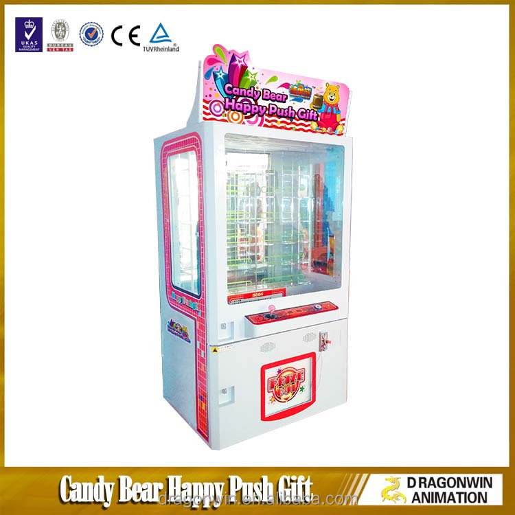 Candy Bear Happy Push Gift shopping mall cabinet simulator plush toy candy vending claw crane game penny press machine business