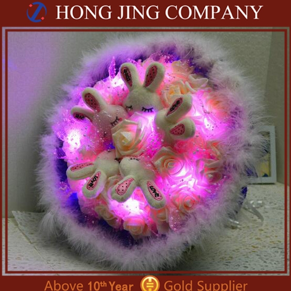 romantic ledl rose gift wedding decoration artificial led flower
