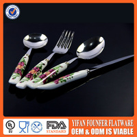 Ceramic handle 4pcs spoon knife fork flatware sets