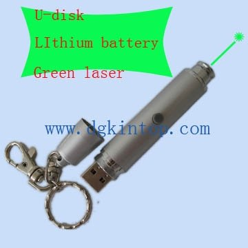 Green laser pointer with flash memory pen