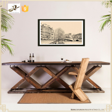 new design fashionable long high industrial vintage reclaimed wood bar table