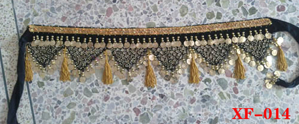 high quality belly dance hip belt with coin, beads and sequins (XF-014)