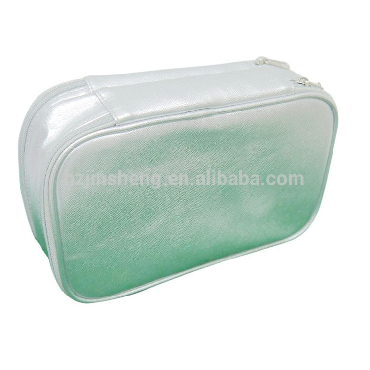 two layer zipper cosmetic bag with pocket inside