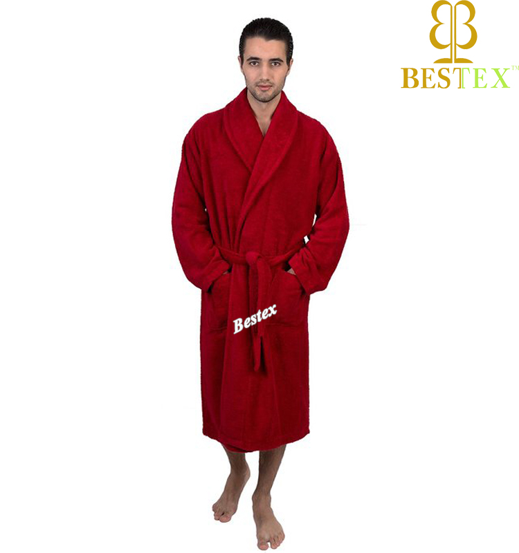 Custom Soft Warm Cotton terry towelling Adult Men red bathrobe
