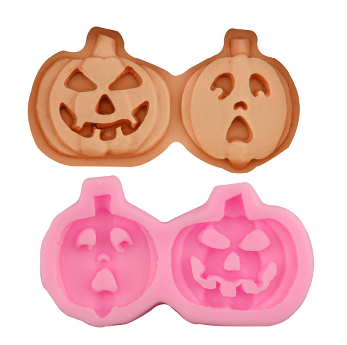 Hot selling Halloween style 2 cavities pumpkin 3d silicone cookie mold, Food grade pumpkin 3d silicone cookie mold