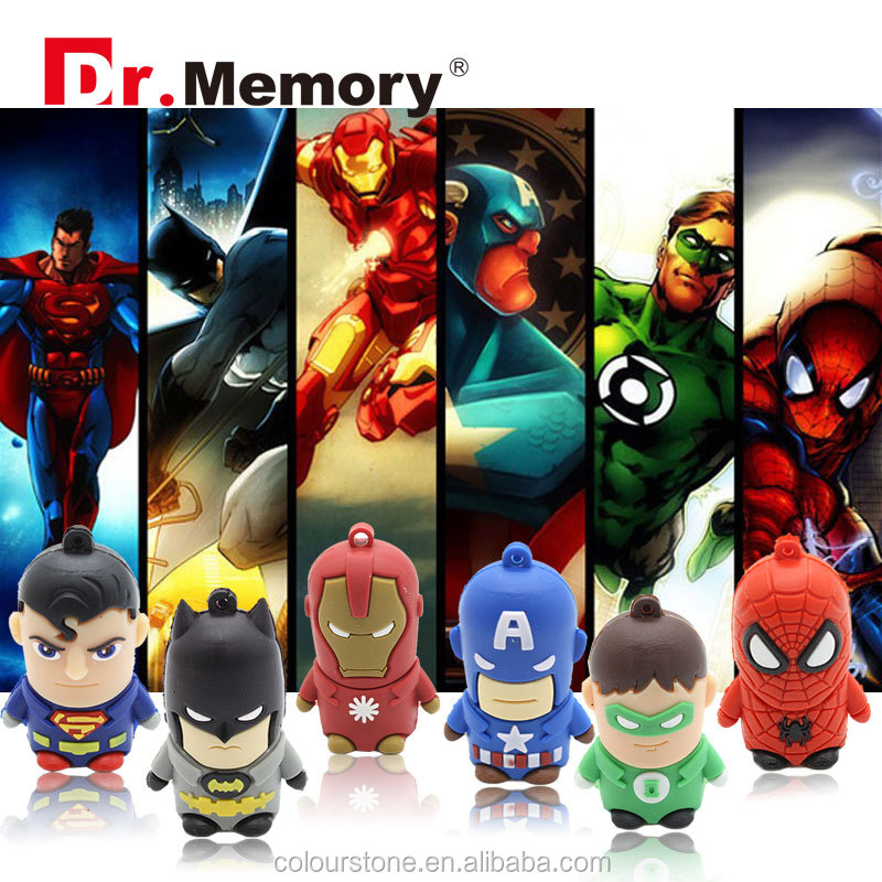 Dr.memory Hot sale New pen drive cartoon super heros,best usb gift usb 2.0 memory flash stick Drive for child