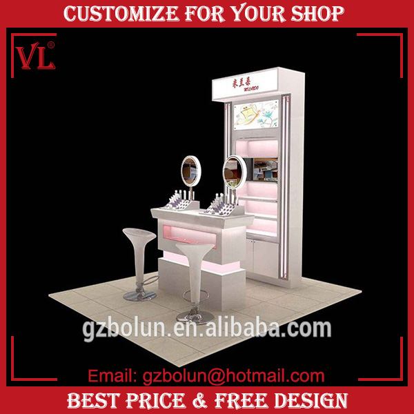 2016 VL glossy paint professional makeup stand station with lights and mirror for store