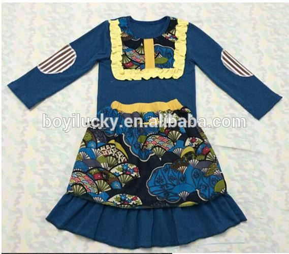 Wholesale Boutique Children Christmas Dress 100% Cotton Toddler Clothing With Flower Print Girl Dress