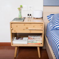 Bamboo Bedside Cabinet Nightstand Side Storage