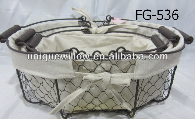 Mesh Wire Gift Basket Wire mesh storage basket Wire Gift Basket with moveble handle FG-536