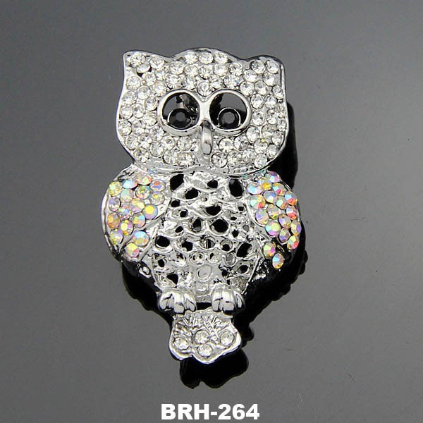 Animal Jewelry Fashion Crystal Rhinestone Platinum Owl Brooch Corsage With Opal Stone Jewelry Wholesale
