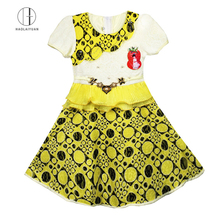 693-2 Yellow Haolaiyuan High quality cheap baby clothes girl summer children lace dress patterns