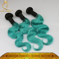 ombre 1b/green human remy hair weave bundles two/2 tone color hair weft straight