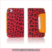 Leopard PU Leather Pouch with Sleep Function for iphone 4 4S Red