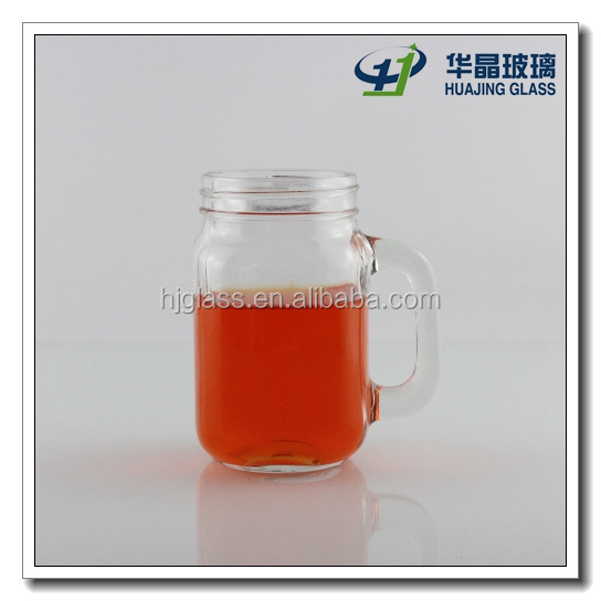 customize glass material 300ml 10oz mason jars with handle and screw top lid