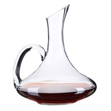 Wine Decanter, Wuudi Decanter Carafe Hand-Blown Crystal Carafe with A Wide Base for Vivid Aerating With Handle