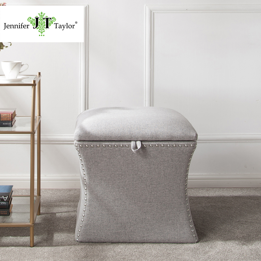 Home goods furniture upholstered Grey storage ottoman