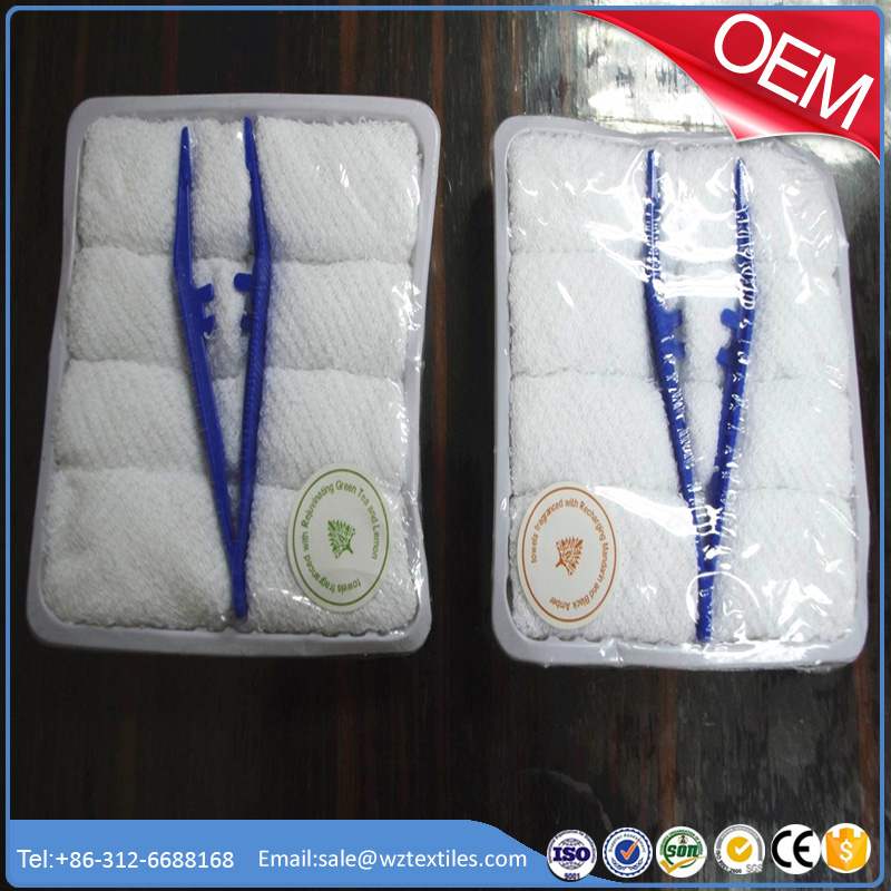 hot&cold airline towels, 8pcs/tray with plastic tong