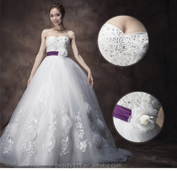 Romantic Appliques Beaded A-line Strapless Sleeveless Floor-length Bridal Lace Summer Wedding dresses WD1899