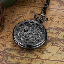 Luxury Brand Chinese Classic Mechanical Movement Black Skeleton Pocket Watch Men with Moonphase
