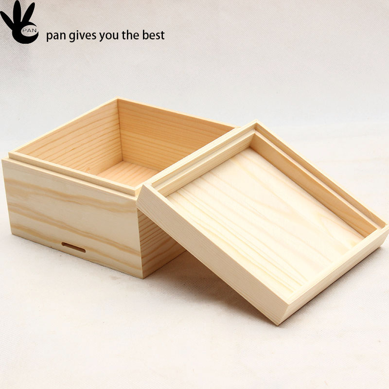 Recycle Custom natural color square unfinished packaging ring wood box