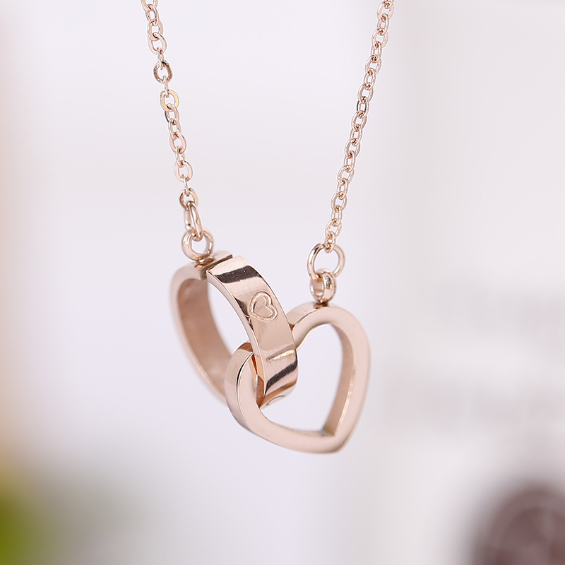 Creative all-match Love Ring Pendant Necklace titanium gold jewelry <strong>accessories</strong> rose gold necklace