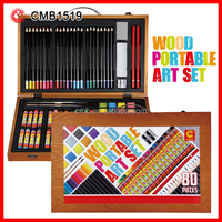 Kids Practical Gift Set Watercolor & Color Pencil & Oil Pastel in Wooden Box