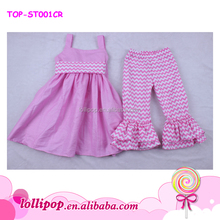 China Yiwu Supplier Children Cheap Kids Cotton Clothing Set Pink Baby Girl's Clothing Set
