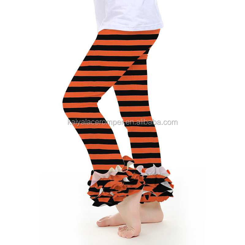 orange and black cotton baby icing leggings wholesale kids boutique ruffle pants baby leggings fabric