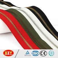 high quality metal zipper low price #10 shiny brass teeth metal zipper roll