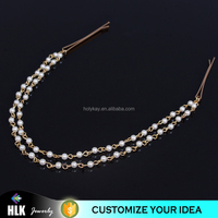 Fashion Gold Plated indian Head Chain Pieces Women imitation pearl PendantHeadpiece Headband Hair Head Chain alibaba online