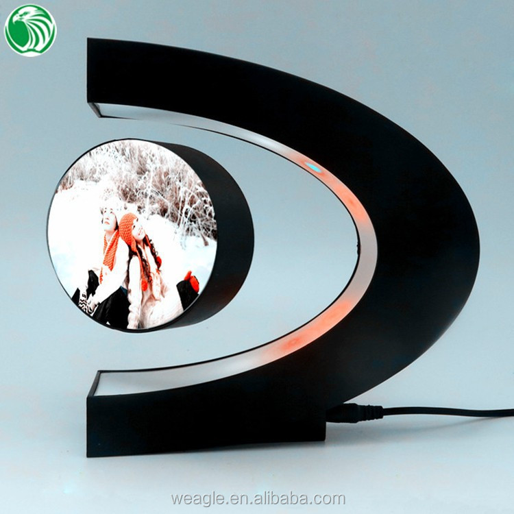 Two sides C shaped magnetic levitation photo frame with LED lights cute precious holiday <strong>gifts</strong>