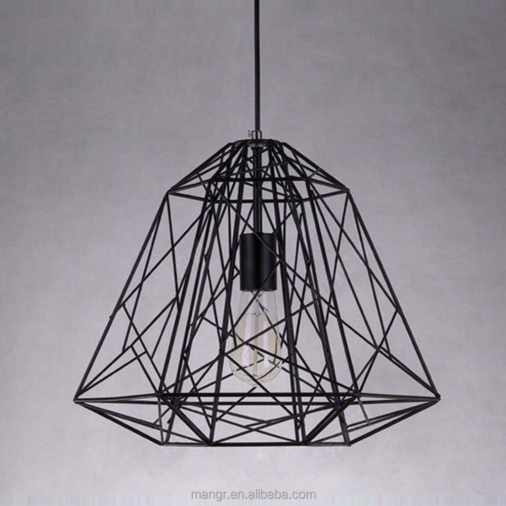 Pendant-Light-MG-1031 Hot sale modern industrial chandelier black iron cage pendant light