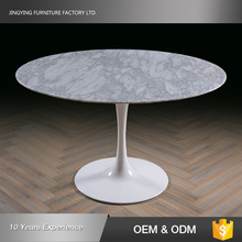 White Metal Base Coffee Shop Custom Cut Marble Table Top
