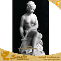 high quality sitting naked girl marble sculpture for outdoor