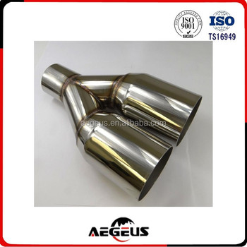 "High quality auto parts 1X Silver Straight Cut Duo Exhaust Tip Polished Stainless Steel 2.5"" In 3.5"" Out"