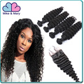 100% Real Cheap Indian Deep Wave Virgin Human Hair Bundles with Free Style Parting Lace Closure