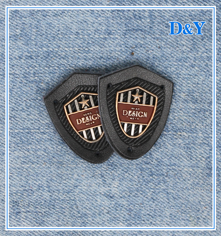 Cheap custom lovely metal pu leather label tags brand logo design