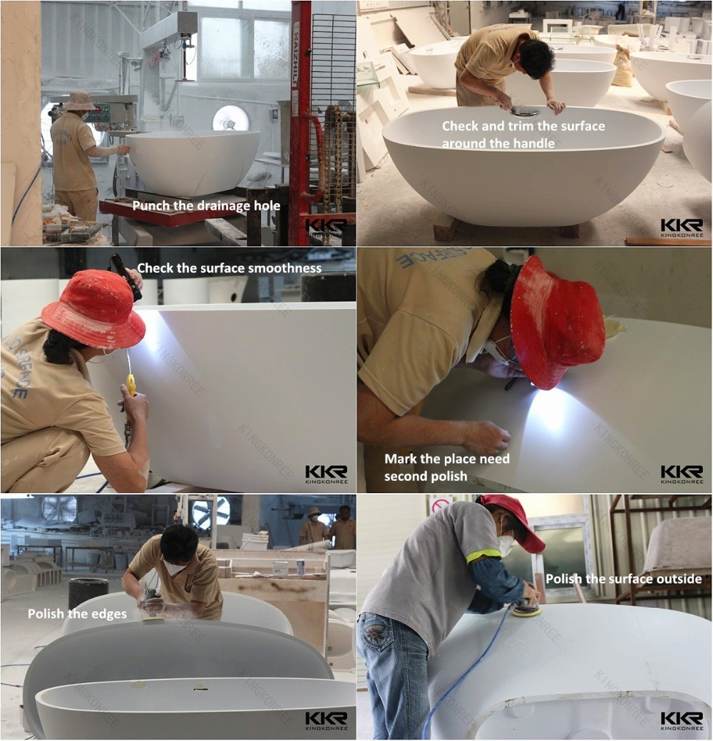 Artificial stone manufacturer bathroom freestanding whirlpool bathtub