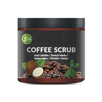 100% Natural Arabica Coffee Scrub 12 oz. with Organic Coffee, Coconut and Shea Butter - Best Acne, Anti Cellulite and Stretch Ma