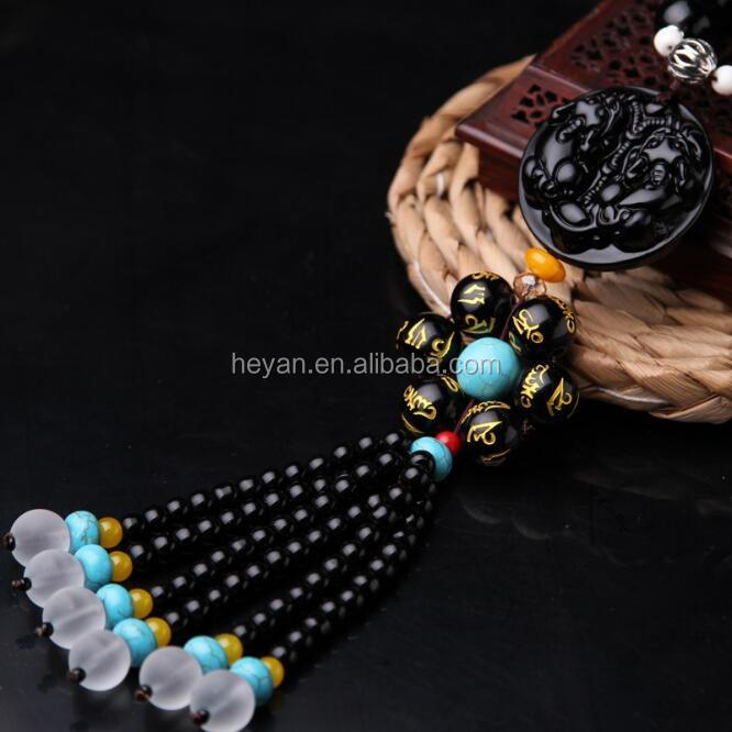 fancy China Maitreya black beads gourd accessories interior creative car hanging decoration